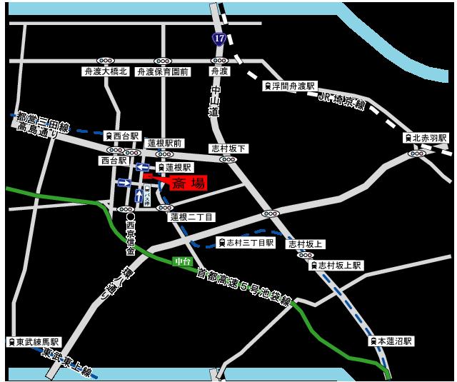 蓮根レインボーホールアクセス地図